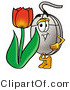 Illustration of a Cartoon Computer Mouse Mascot with a Red Tulip Flower in the Spring by Toons4Biz