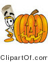 Illustration of a Cartoon Diploma Mascot with a Carved Halloween Pumpkin by Toons4Biz