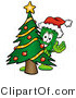 Illustration of a Cartoon Dollar Bill Mascot Waving and Standing by a Decorated Christmas Tree by Toons4Biz
