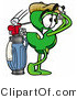 Illustration of a Cartoon Dollar Sign Mascot Swinging His Golf Club While Golfing by Toons4Biz