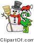 Illustration of a Cartoon Dollar Sign Mascot with a Snowman on Christmas by Toons4Biz