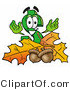 Illustration of a Cartoon Dollar Sign Mascot with Autumn Leaves and Acorns in the Fall by Toons4Biz