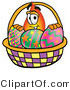 Illustration of a Cartoon Fire Droplet Mascot in an Easter Basket Full of Decorated Easter Eggs by Toons4Biz