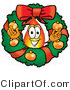 Illustration of a Cartoon Fire Droplet Mascot in the Center of a Christmas Wreath by Toons4Biz