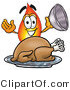 Illustration of a Cartoon Fire Droplet Mascot Serving a Thanksgiving Turkey on a Platter by Toons4Biz