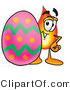Illustration of a Cartoon Fire Droplet Mascot Standing Beside an Easter Egg by Toons4Biz