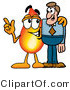 Illustration of a Cartoon Fire Droplet Mascot Talking to a Business Man by Toons4Biz