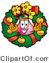 Illustration of a Cartoon Flowers Mascot in the Center of a Christmas Wreath by Toons4Biz