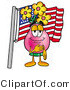 Illustration of a Cartoon Flowers Mascot Pledging Allegiance to an American Flag by Toons4Biz
