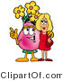 Illustration of a Cartoon Flowers Mascot Talking to a Pretty Blond Woman by Toons4Biz