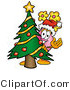 Illustration of a Cartoon Flowers Mascot Waving and Standing by a Decorated Christmas Tree by Toons4Biz