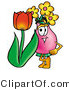 Illustration of a Cartoon Flowers Mascot with a Red Tulip Flower in the Spring by Toons4Biz