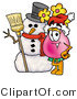 Illustration of a Cartoon Flowers Mascot with a Snowman on Christmas by Toons4Biz