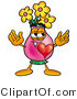 Illustration of a Cartoon Flowers Mascot with His Heart Beating out of His Chest by Toons4Biz