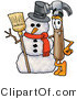 Illustration of a Cartoon Hammer Mascot with a Snowman on Christmas by Toons4Biz