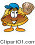 Illustration of a Cartoon Hard Hat Mascot Catching a Baseball with a Glove by Toons4Biz