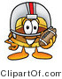 Illustration of a Cartoon Hard Hat Mascot in a Helmet, Holding a Football by Toons4Biz