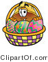 Illustration of a Cartoon Hard Hat Mascot in an Easter Basket Full of Decorated Easter Eggs by Toons4Biz