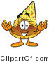 Illustration of a Cartoon Hard Hat Mascot Wearing a Birthday Party Hat by Toons4Biz