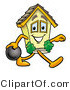 Illustration of a Cartoon House Mascot Holding a Bowling Ball by Toons4Biz