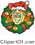 Illustration of a Cartoon House Mascot in the Center of a Christmas Wreath by Toons4Biz