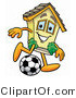 Illustration of a Cartoon House Mascot Kicking a Soccer Ball by Toons4Biz