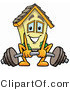 Illustration of a Cartoon House Mascot Lifting a Heavy Barbell by Toons4Biz