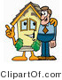 Illustration of a Cartoon House Mascot Talking to a Business Man by Toons4Biz