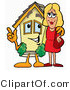 Illustration of a Cartoon House Mascot Talking to a Pretty Blond Woman by Toons4Biz