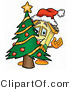 Illustration of a Cartoon House Mascot Waving and Standing by a Decorated Christmas Tree by Toons4Biz