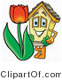 Illustration of a Cartoon House Mascot with a Red Tulip Flower in the Spring by Toons4Biz