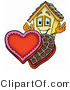 Illustration of a Cartoon House Mascot with an Open Box of Valentines Day Chocolate Candies by Toons4Biz