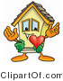 Illustration of a Cartoon House Mascot with His Heart Beating out of His Chest by Toons4Biz