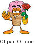 Illustration of a Cartoon Ice Cream Cone Mascot Holding a Red Rose on Valentines Day by Toons4Biz