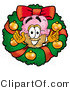 Illustration of a Cartoon Ice Cream Cone Mascot in the Center of a Christmas Wreath by Toons4Biz