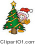 Illustration of a Cartoon Ice Cream Cone Mascot Waving and Standing by a Decorated Christmas Tree by Toons4Biz