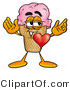 Illustration of a Cartoon Ice Cream Cone Mascot with His Heart Beating out of His Chest by Toons4Biz