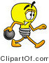 Illustration of a Cartoon Light Bulb Mascot Holding a Bowling Ball by Toons4Biz