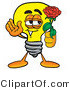 Illustration of a Cartoon Light Bulb Mascot Holding a Red Rose on Valentines Day by Toons4Biz