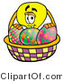 Illustration of a Cartoon Light Bulb Mascot in an Easter Basket Full of Decorated Easter Eggs by Toons4Biz