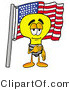 Illustration of a Cartoon Light Bulb Mascot Pledging Allegiance to an American Flag by Toons4Biz
