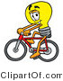 Illustration of a Cartoon Light Bulb Mascot Riding a Bicycle by Toons4Biz