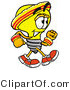 Illustration of a Cartoon Light Bulb Mascot Speed Walking or Jogging by Toons4Biz
