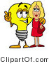 Illustration of a Cartoon Light Bulb Mascot Talking to a Pretty Blond Woman by Toons4Biz
