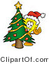 Illustration of a Cartoon Light Bulb Mascot Waving and Standing by a Decorated Christmas Tree by Toons4Biz
