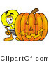 Illustration of a Cartoon Light Bulb Mascot with a Carved Halloween Pumpkin by Toons4Biz