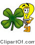 Illustration of a Cartoon Light Bulb Mascot with a Green Four Leaf Clover on St Paddy's or St Patricks Day by Toons4Biz