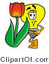 Illustration of a Cartoon Light Bulb Mascot with a Red Tulip Flower in the Spring by Toons4Biz
