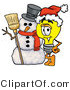 Illustration of a Cartoon Light Bulb Mascot with a Snowman on Christmas by Toons4Biz