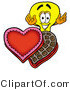 Illustration of a Cartoon Light Bulb Mascot with an Open Box of Valentines Day Chocolate Candies by Toons4Biz